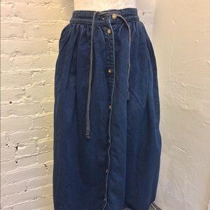 Calvin Klein Vintage 80s Denim Skirt Pleated 2